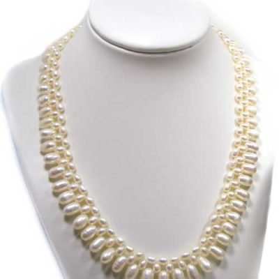White Triple Strands Bridal Pearl Necklace 18in Long , 925 SS