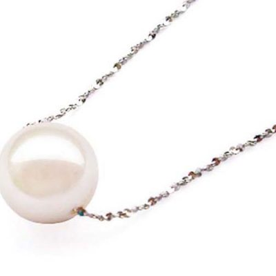 White 7.5mm Add a Pearl - AAA Round Pearl Necklace, in 14k Solid WG