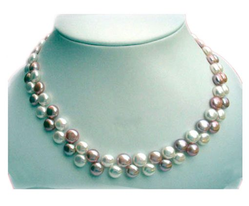 white and mauve silver pearl necklace