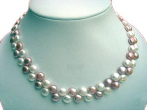 Pink and White Alternate row 8-8.5mm Pancake Pearl Necklace, 925 SS