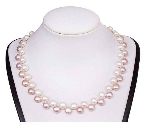 White and Pink Pancake Pearl Necklace