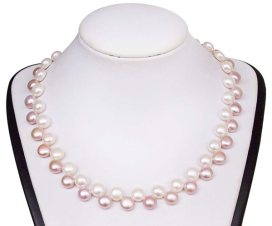 Lavender and White Alternate row 8-8.5mm Pancake Pearl Necklace, 925 SS