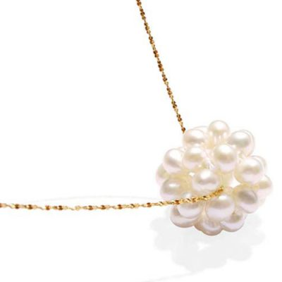 White 14k YG Genuine Pearl Necklace, 16in