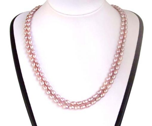 Lavender Double Strand Rice Pearl Necklace, 24in