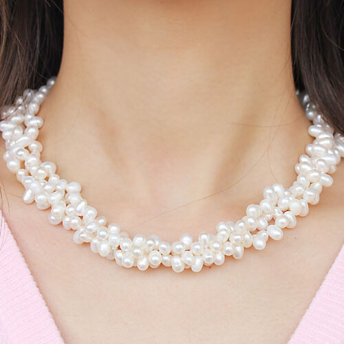 White 3 Strand 5x6mm Pearl Necklace, 925 SS