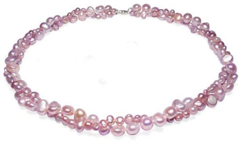 Lavender Double Strand Baroque Pearl Necklace 17in