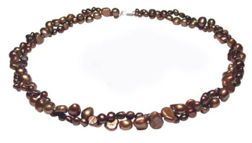 Brown Double Strand Baroque Pearl Necklace 17in