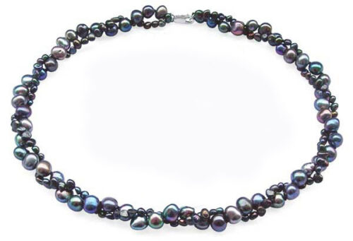 Black Double Strand Baroque Pearl Necklace 17in