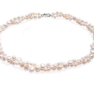 White Double Strand Baroque Pearl Necklace 17in