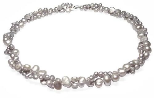 Gray Double Strand Baroque Pearl Necklace 17in