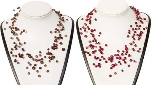 Chocolate and Cranberry 2 Rows Pearls Like Stars Sparkling in 925 SS Illusion Necklace