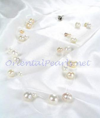 White, Pink and Mauve 3 or 5 Rows Pearls Like Stars Sparkling in Silver Illusion Necklace