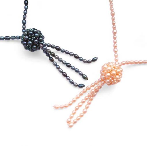 All Pink and All Black 5-6mm, 6-7mm, 7-8mm, 32in Long Lariat High Quality Genuine Rice Pearl Necklace