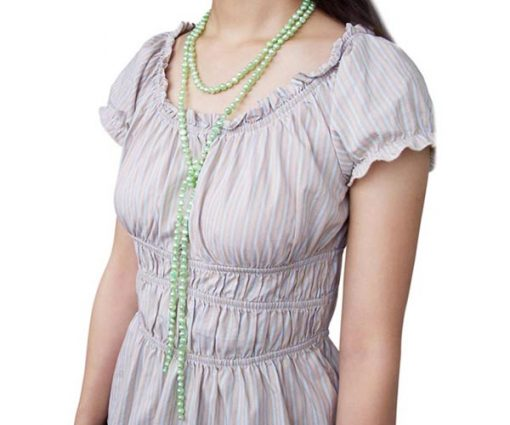 64in Long 7-8mm Olive Green Baroque Clasp less Pearl Necklace
