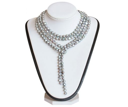 64in Long 7-8mm Grey Baroque Clasp less Pearl Necklace