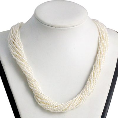 White 1-2mm 21 Rows Rice Pearl Choker in 925 SS