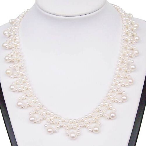 White Genuine Freshwater Pearl Necklace in Exclusive Design, 925 SS
