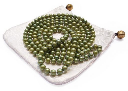 Peacock Green 6-7mm Classless Pearl Rope Necklace 50in Long