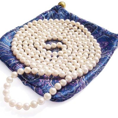 White 6-7mm Classless Pearl Rope Necklace 50in Long