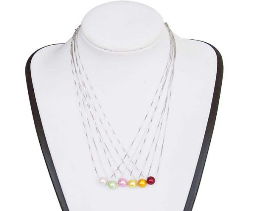 White, Light Green, Baby Pink, Light Yellow, Gold, Cranberry 7-8mm AAA Round Add-a-Pearl Necklace, 925 SS