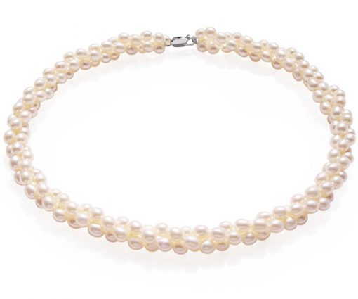 White 5-6mm 3-Row Rice Pearl Necklace, 925 SS