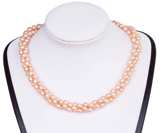 Pink 5-6mm 3-Row Rice Pearl Necklace, 925 SS