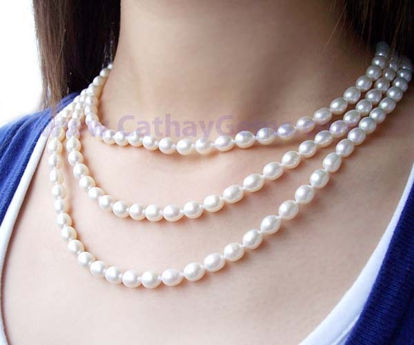 White 6-7mm 3-row Genuine Rice Pearl Necklace, Round Clasp