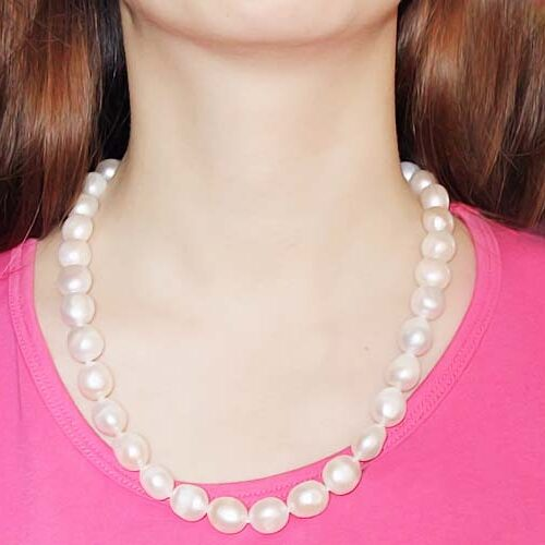White 13-14mm Baroque Pearl Necklace, 14K YG Clasp with Real Diamonds