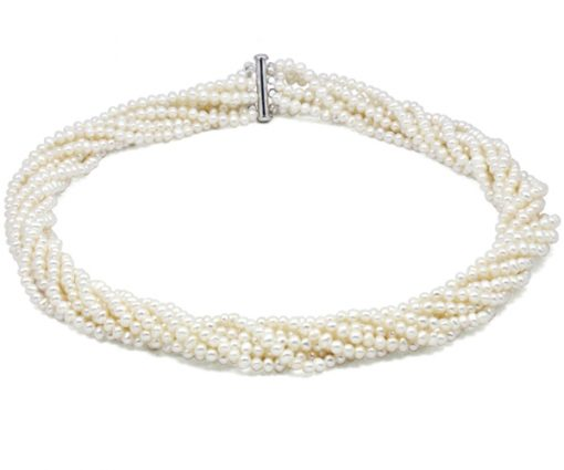 White 8 Rows Real Pearl Necklace