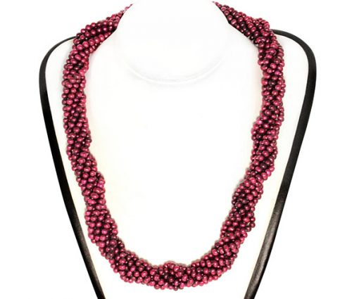 Cranberry Colored 8-Row Pearl Necklace