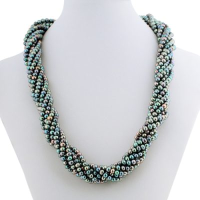 Multi-Black 8 Rows Real Pearl Necklace