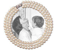 White 7-8mm 3-row Jackie O Famous Look-a-like Round AA+ Pearl Necklace, with Very High Luster