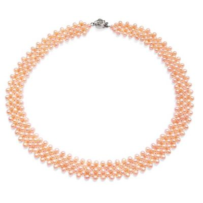 Pink 3.5-4.5mm 5-row Multi-strand 5mm Pearl Necklace, 925 SS