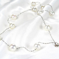 White 7-7.5mm 14K WG Round Tin Cup Pearl Necklace