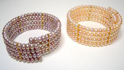 Lavender or Pink Princess Diana 4 Row Pearl Collar with Gold