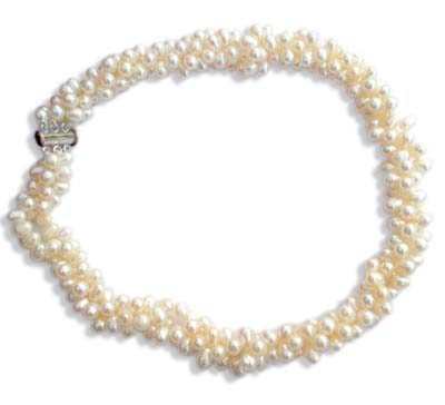 White Doublet Pearl Necklace 3 Strand, SS