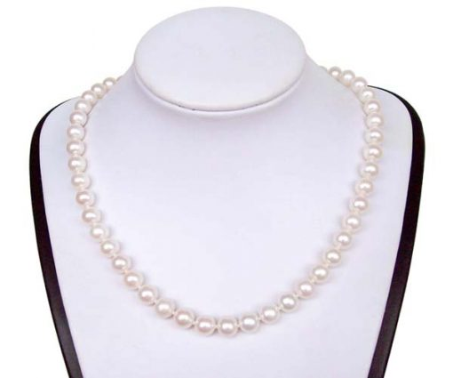 8-9mm AA White Round Pearl Necklace 14K Gold Clasp