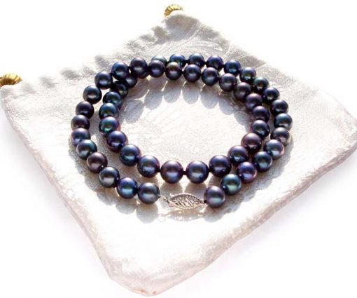 8-9mm AA Black Round Pearl Necklace 14K Gold Clasp