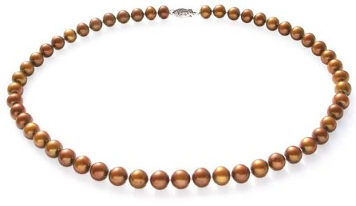 8-9mm AA Chocolate Round Pearl Necklace 14K Gold Clasp