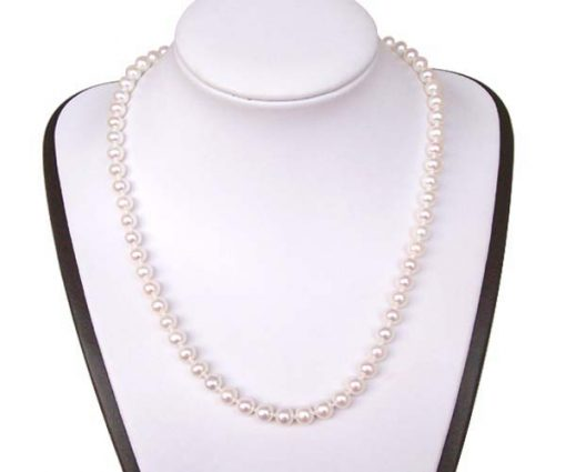 White 6-6.5mm Round Pearl Necklace, 14k Clasp