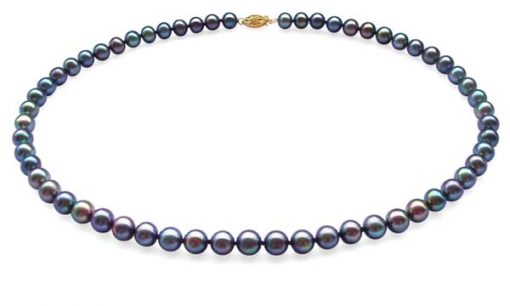 7-7.5mm AAA Black Round Pearl Necklace 14K Gold