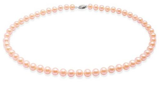 7-7.5mm AAA Pink Round Pearl Necklace 14K Gold