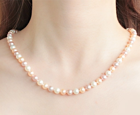 7-8mm AAA- Multi Color Round Pearl Necklace 20in Long
