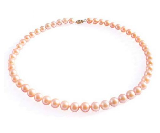 Pink Colored 8-8.5mm AAA Gem Quaity Round Pearl Necklace, 14kg Clasp