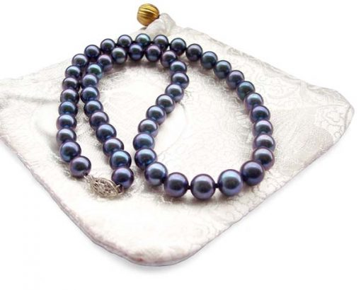 Black Colored 8-8.5mm AAA Gem Quaity Round Pearl Necklace, 14k Clasp