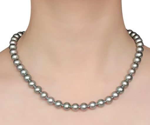 Grey Colored 8-8.5mm AAA Gem Quaity Round Pearl Necklace, 14k Clasp