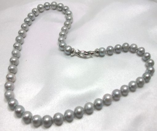 Grey Colored 7.5-8.5mm Round Pearl Necklace