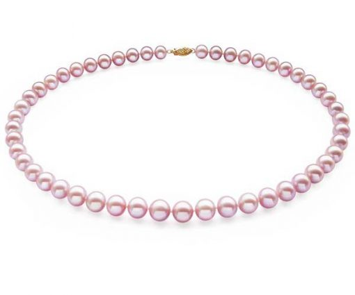 9-9.5mm AAA Gem Quality White Pearl Necklace, 14K
