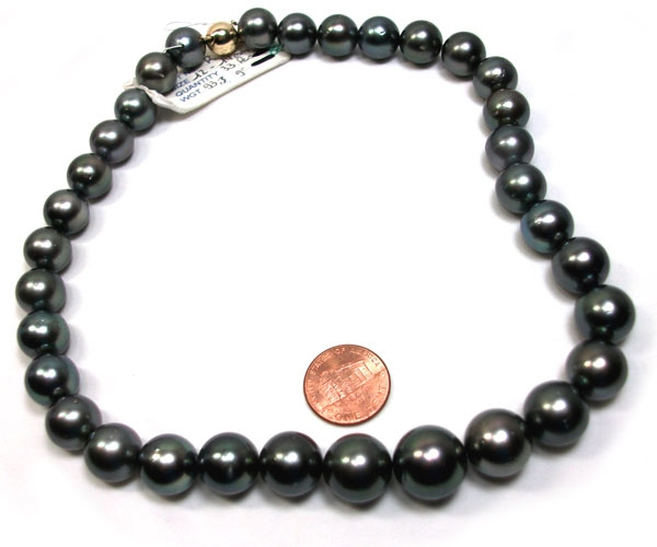 12-14mm Round Black Tahitian Pearl Necklace