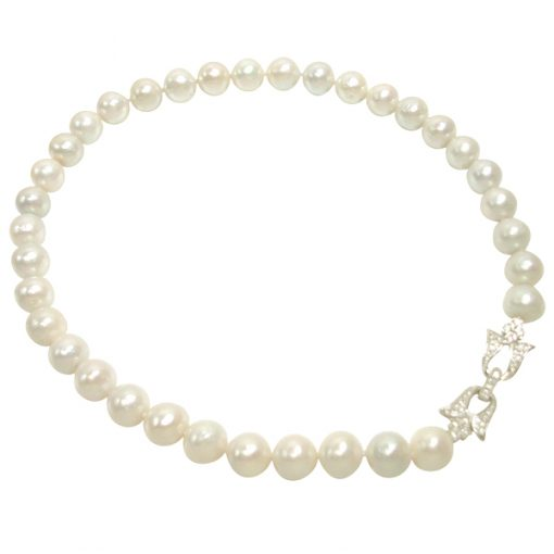 White Gorgeous 11-12mm Real Nucleated Round Pearl Necklace 925S Butterfly Clasp